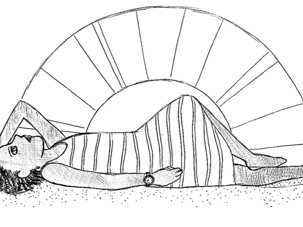 woman lying down illustration