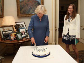 The Duchess of Cornwall cutting First Story's 5 year anniversary cake